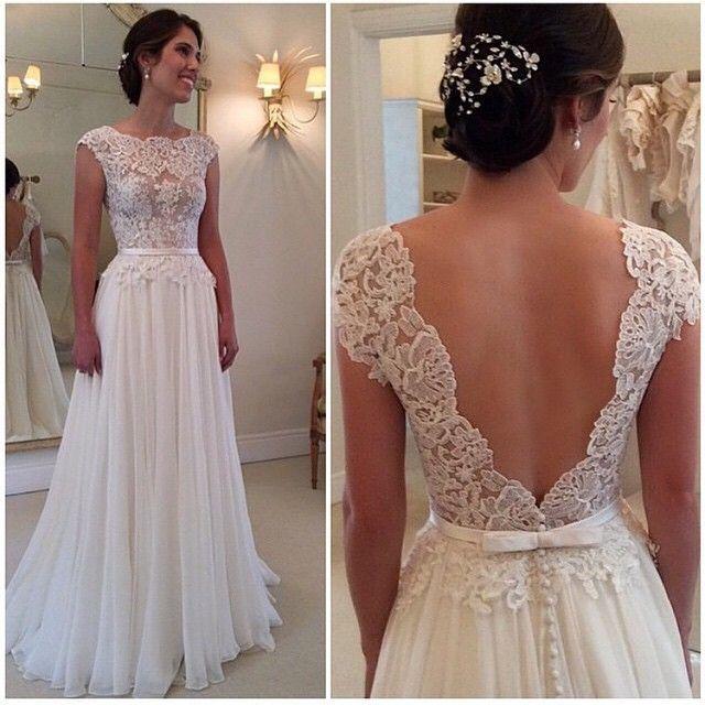 A-line round neckline Chiffon Lace Long Wedding Dresses, Wedding Gown #wedding #dress #weddingdress: