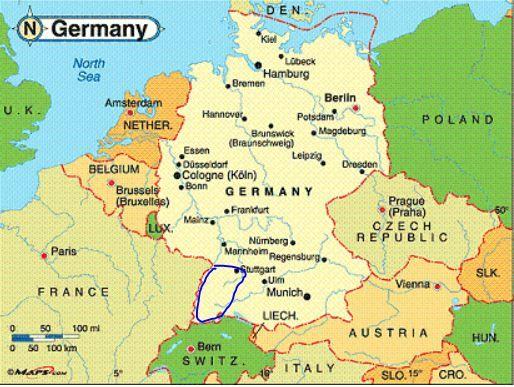 Europe England Circled Map