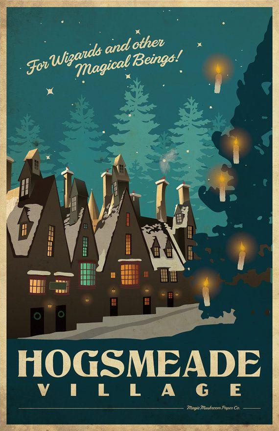 Hogsmeade Harry Potter Travel Poster Vintage Print Wall
