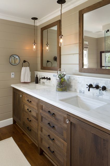 Farmhouse Bathroom by Anne Sneed Architectural Interiors Sample palette: Get a similar look with Alabaster, Favorite Tan and