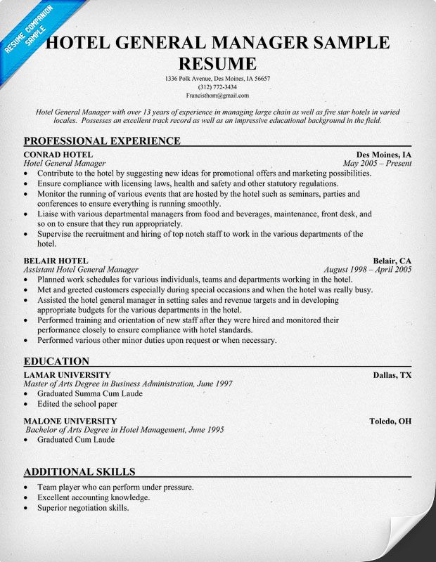 hotel general manager resumes template