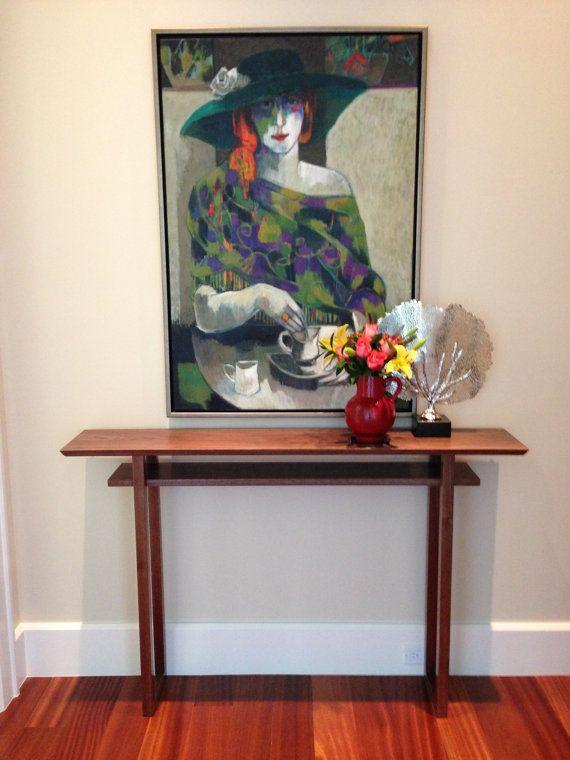 Narrow Walnut Entryway Console Table Modern Foyer Table