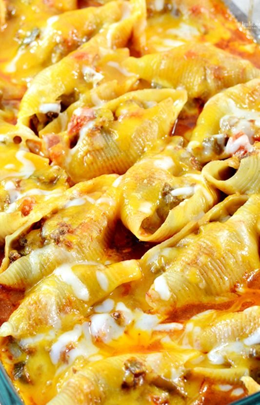 Mexican Stuffed Shells Recipe ~ filled with a ground beef and cream cheese mixture, cooked in a bath of enchilada sauce and salsa