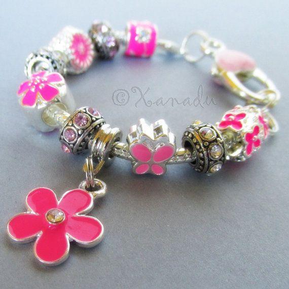 Flower Murano Pandora Charm Pink
