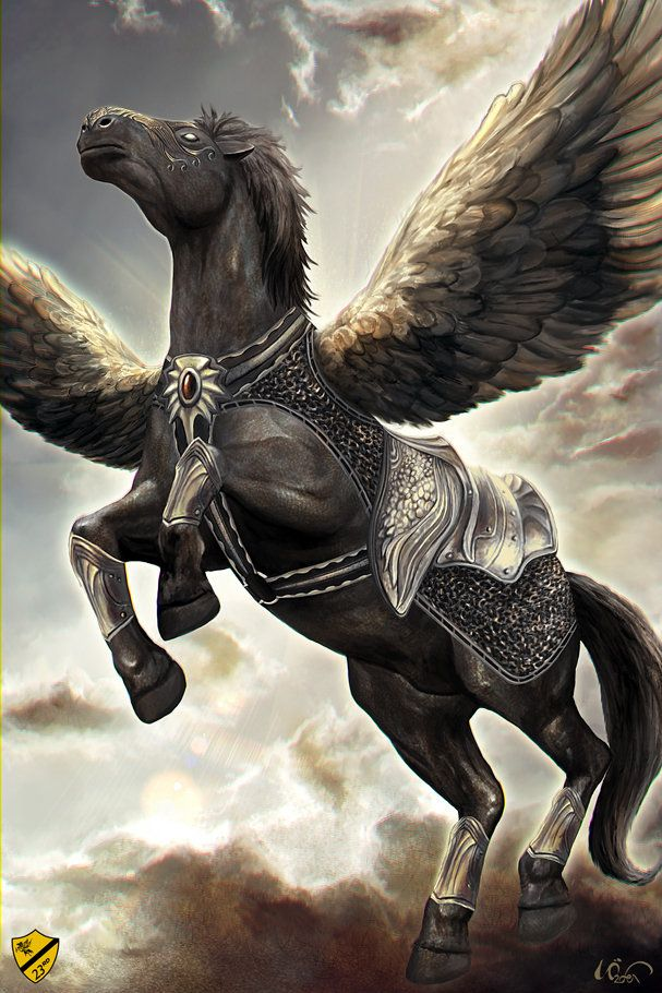 Dark pegasus with barding armor really captures the