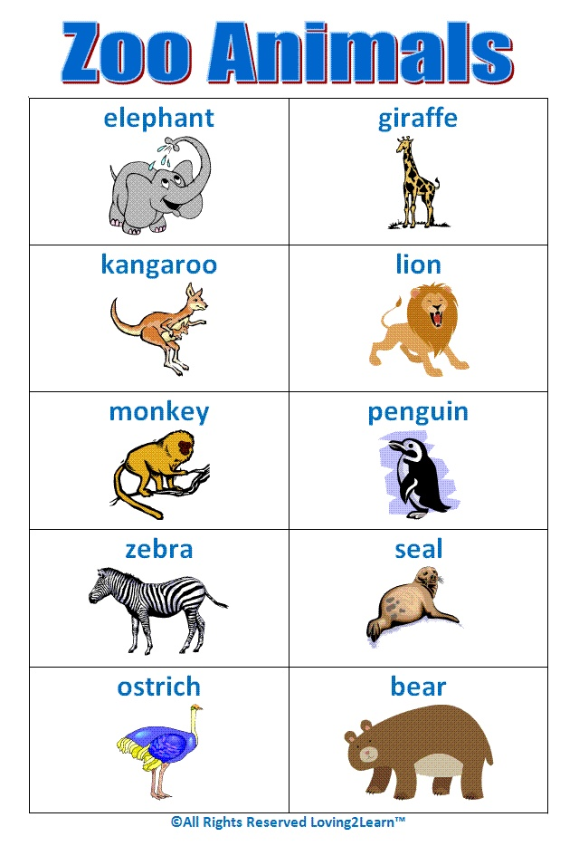 """Super """"Zoo Animals"""" chart! Early"""