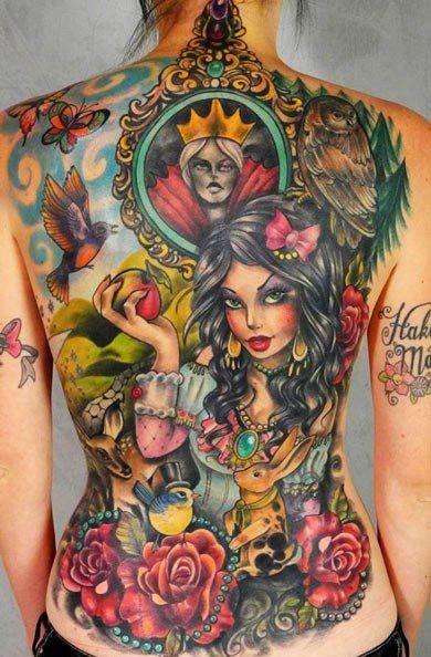 Colorful tattoo back piece tattoo TATTOOS Pinterest