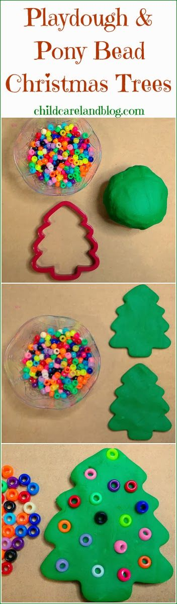 Playdough and Pony Bead Christmas Trees … a favorite for fine motor and math centers.