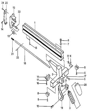 RIP FENCE ASSEMBLY Diagram & Parts List for Model bt3000