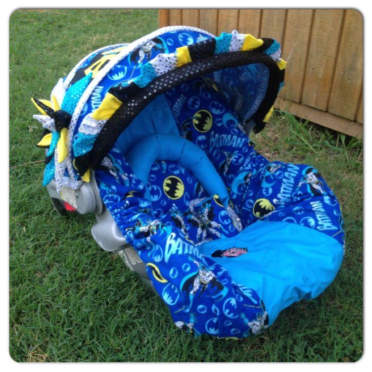 "Custom ""Batman"" infant carseat set. Made by StitchA"