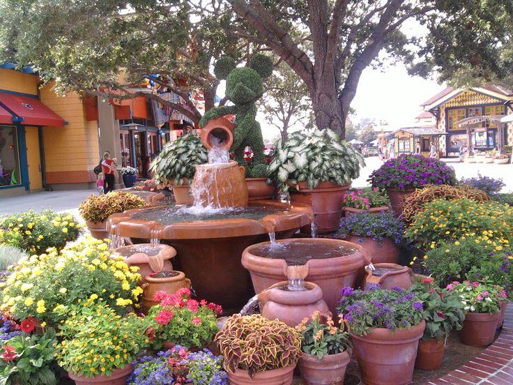 Downtown Disney container garden ideas with fountain