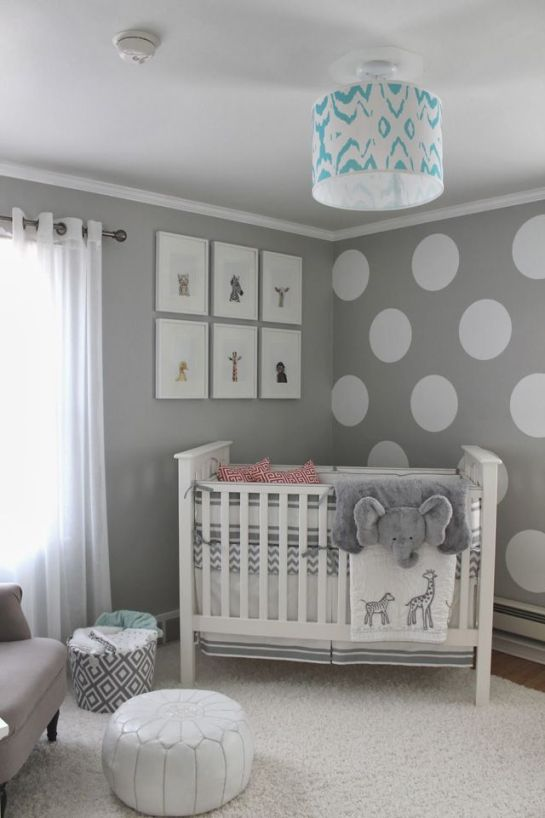 gender-neutral elephant nursery maybe with a bit of teal or yellow that could go both ways :) I wouldn't add the polka dots though: