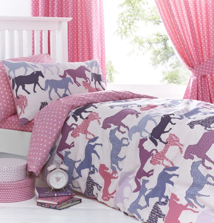 Details About Gallop Pink Girls Horse Bedding Duvet Cover Set Sheet Or Curtains Girls