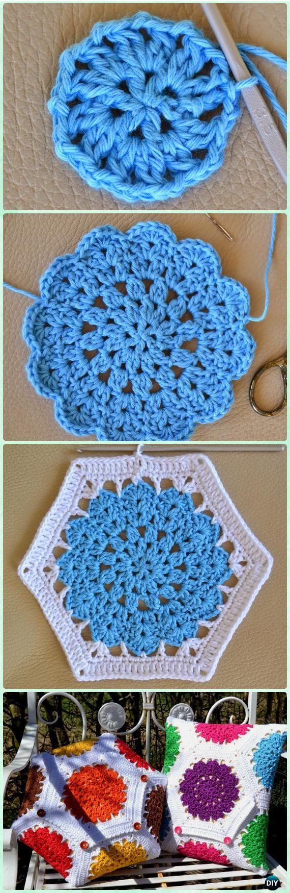 Crochet Mandala Flower Hexagon Motif Free Pattern – Crochet Hexagon Motif Free Patterns