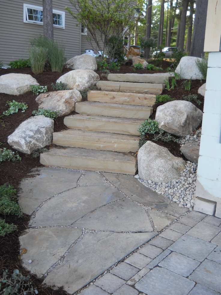 Stone steps and bluestone landing Natural Stone Work