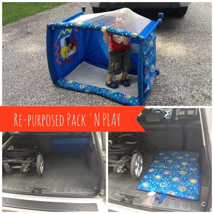Repurposed Pack 'n Play into a car changing pad