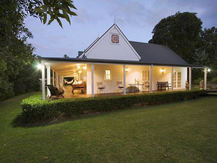 Weatherboard Colonial House Exterior With French Doors