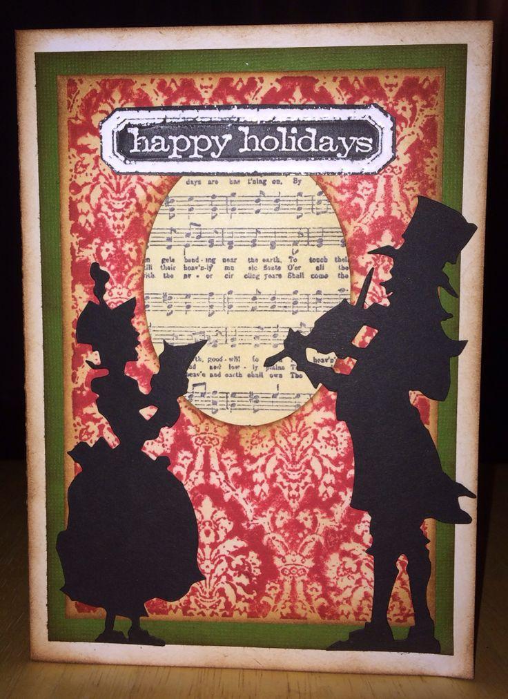 Christmas Card Using Tim Holtz Victorian Carolers Die