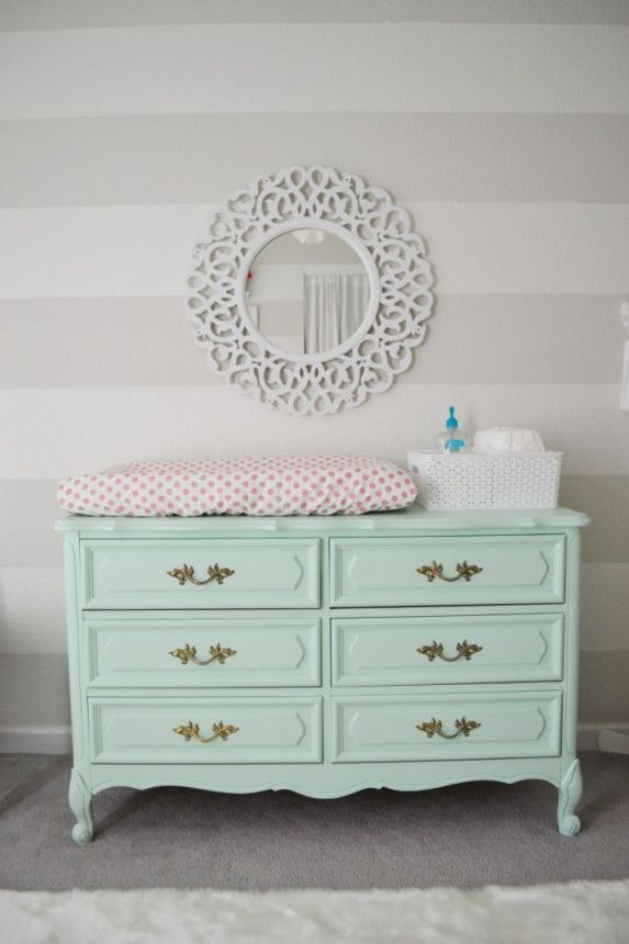 French Provincial Style Dresser Painted Mint - what a fab changing table in a Vintage Chic Nursery: