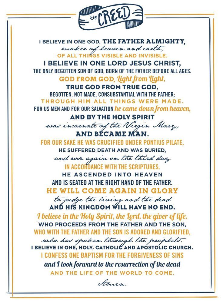 "Nicene Creed / Credo ""I believe..."" Faith, Hope"