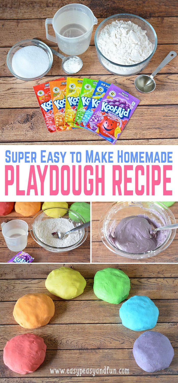 Easy Homemade Playdough Recipe Homemade crafts, Kool aid