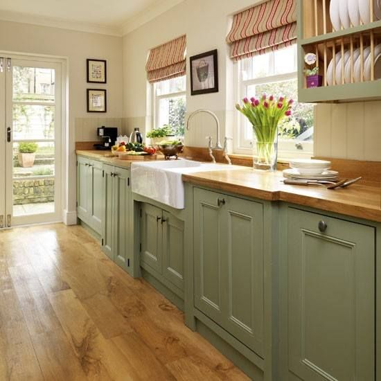 Green Cabinets And Butcher Block Counter Top Or Paint The