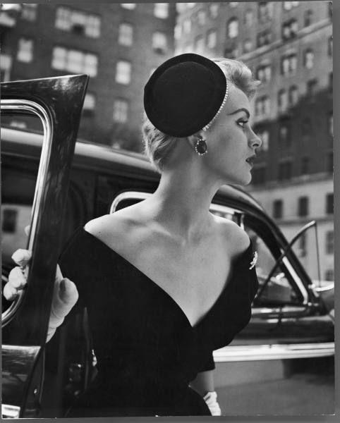 Vintage fashion photography ~ Black V neck dress with coordinating black hat