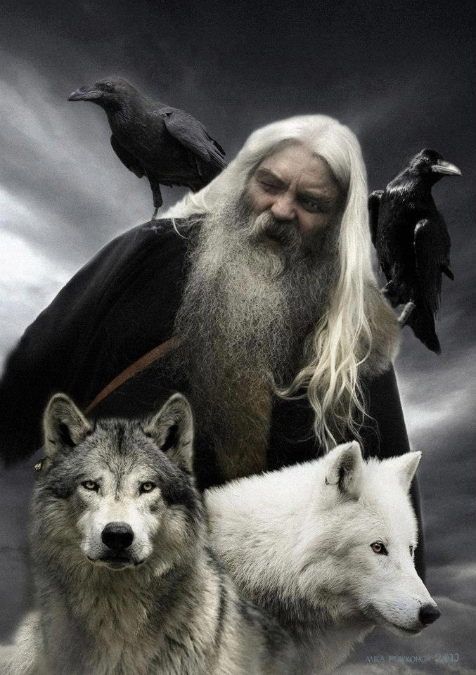 ODIN with the two ravens HUGINN & MUNINN and the two