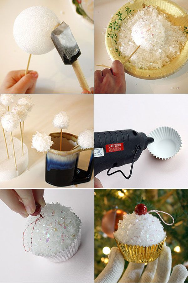 Christmas Ornament … sparkle cupcakes.  Could be fun for kids to give to their