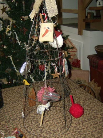 Display For Craft Show At Christmas Tomato Cage Covered