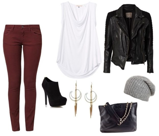 Edgy outfit Idea – wine col