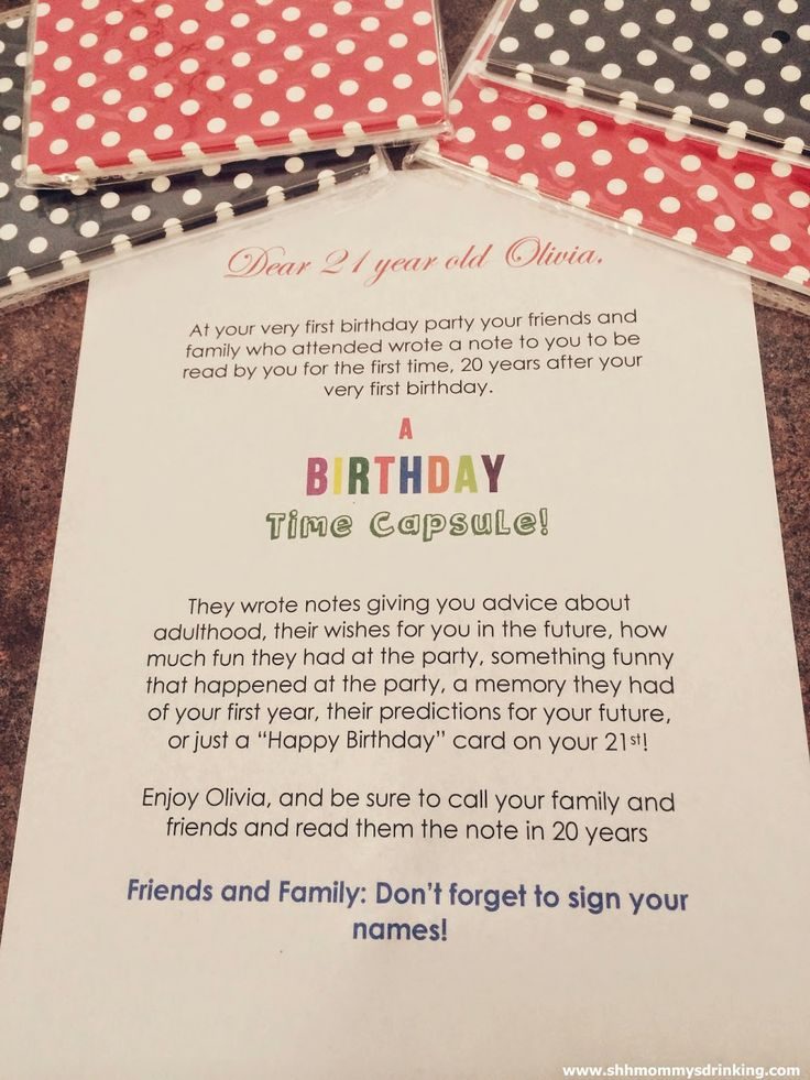Birthday time capsule. Note to the 1st birthday boy or
