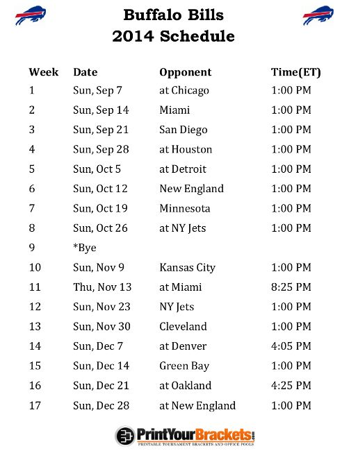 2014 6 2013 Nfl Printable Schedule Week