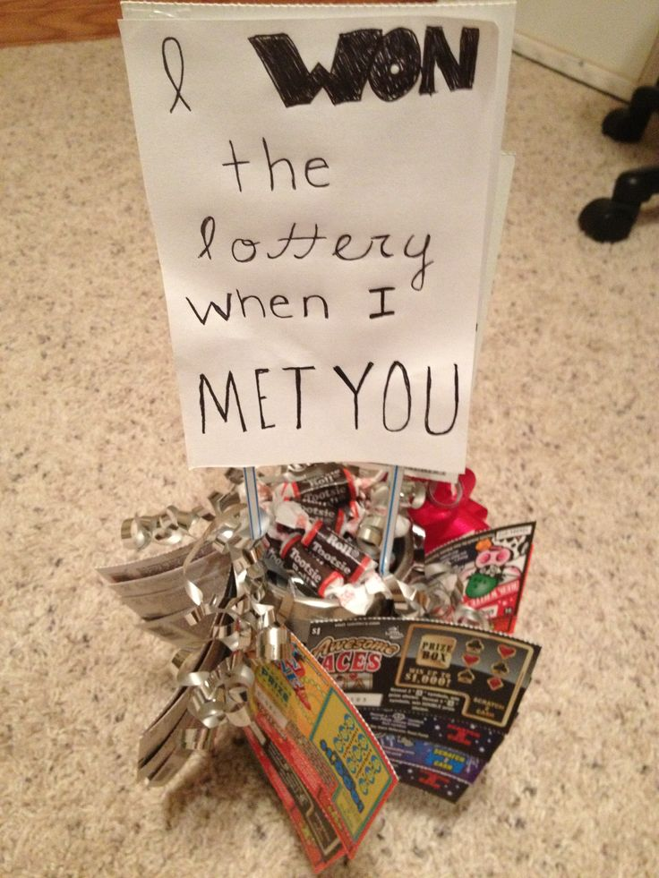 "Homemade gift with candies and lottery tickets. ""I won the"