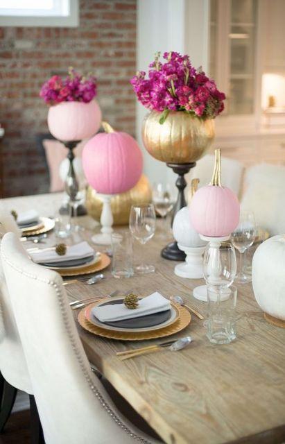 Eight Pumpkin Centerpiece Ideas: Pink and Gold Pumpkin Centerpiece: