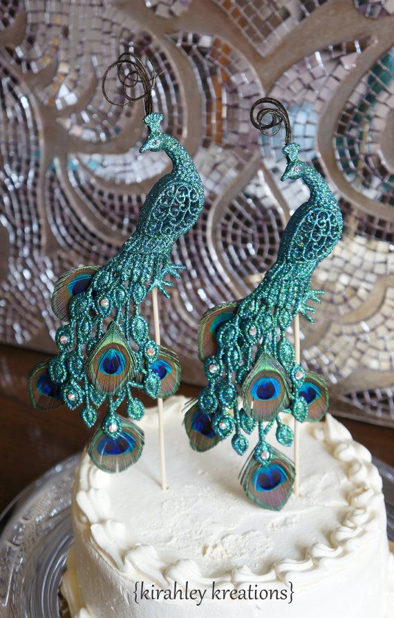 PEACOCK Wedding Cake Toppers Gorgeous Glittery