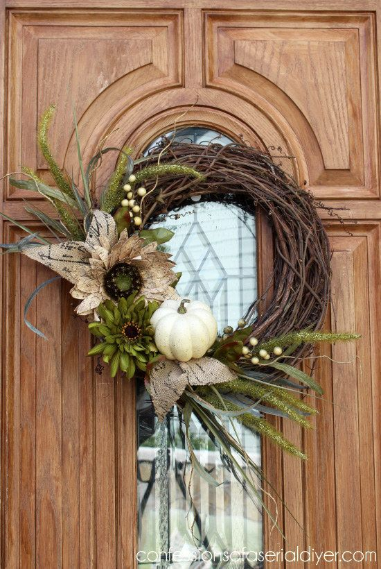 Or make a wreath using fall flora. | 21 Fall Porch Ideas That Will Make Your Neighbors Insanely Jealous
