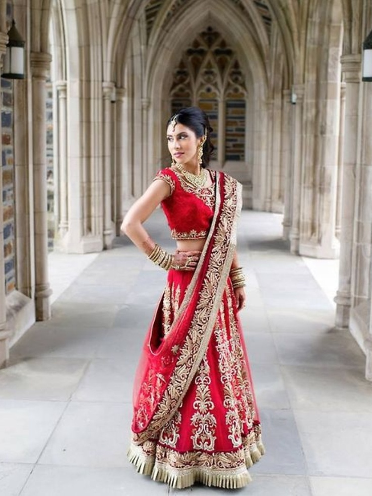 Red and gold lehenga South Asian bridal lehenga. Benzer