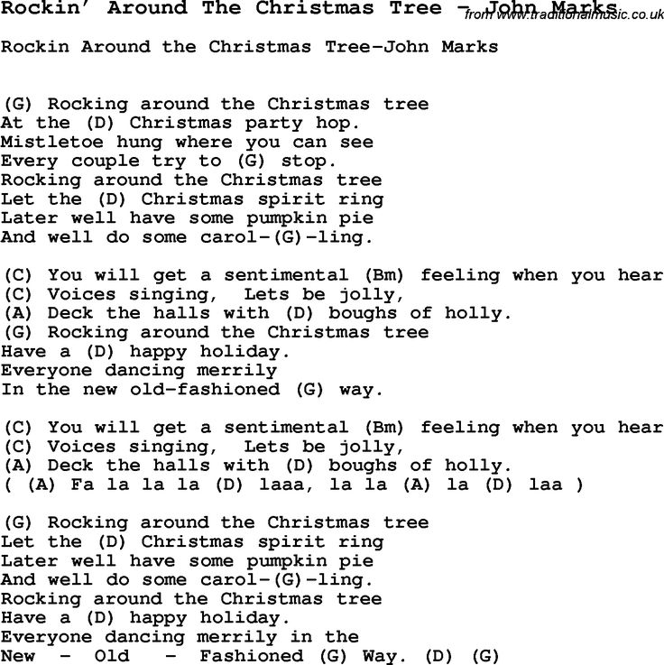 Song Rockin' Around The Christmas Tree by John Marks, with