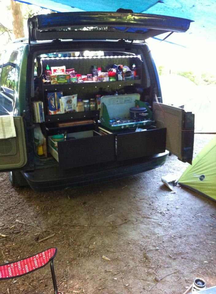 Astro van camper conversion! Kitchen out back, bed inside