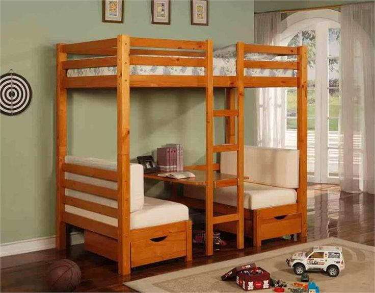 Twin Over Table Convertible Bunk Bed In Honey Pine Finish