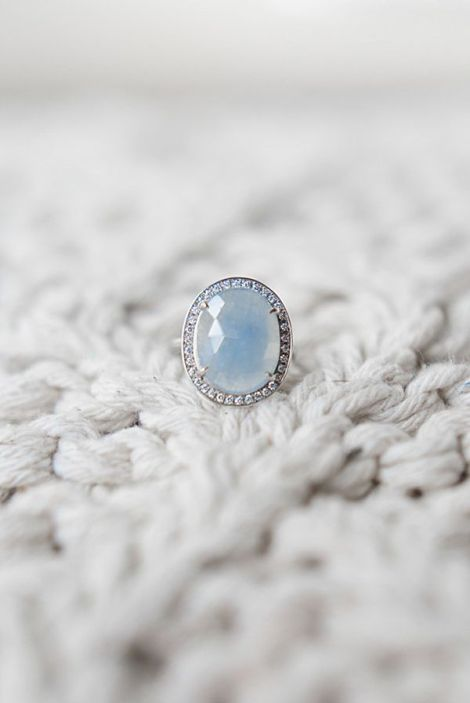 Blue Gemstone Engagement Ring | Christie Graham Photography | Asheville Destination Wedding Inspiration in the Blue Ridge Mountains