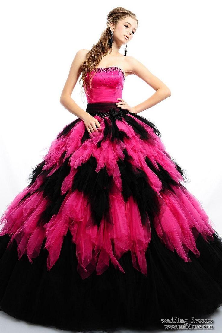 Black n Pink floor length poofy dress! Dresses Formal