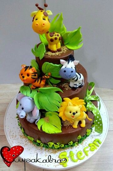 Cute Jungle Theme With Animal Figures Cake Topper And
