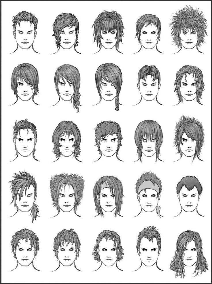 Hairstyles for male characters. Feel free to use for