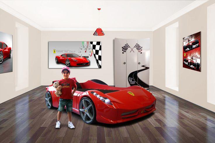 Car Bed. Ferrari. Car Bedroom Theme. Boys Bedroom. Boys