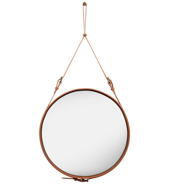 JACQUES ADNET, Circulaire L wall mirror, originally designed in 1950s and produced by Hermés, re-production by Gubi, Denmark. Material leath...: