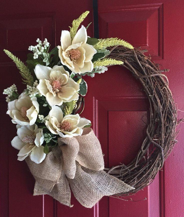 Summer Chic Burlap Magnolia Wreath With Burlap Bow Burlap