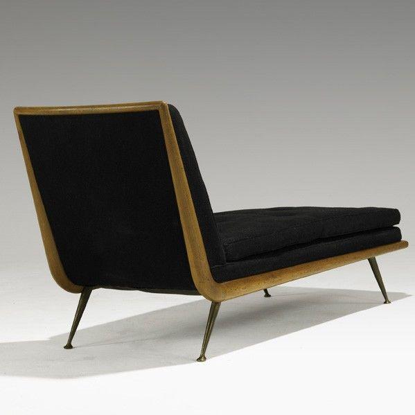 // T.H. Robsjohn-Gibbings; Mahogany and Brass Chaise Longue for Widdicomb, 1950s