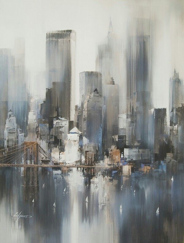 Acrylic painting of the city | The artist focuses and pays closer attention to the nearer things from our viewpoint (Could